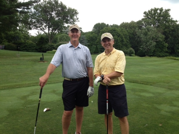 7-2-2013 Doug Healy and Jim Williamson on first tee of Virtual ATAG match in Baltimore