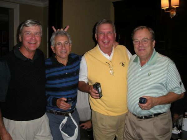 10-22-2013 End Of Year Party:  Best Team Score on the Front Nine (-16): Ron Majors, Jeff Kohn, Danny Morris, Henry Sawyer (Majors shows a 4th grade trick on the unsuspecting Kohn.)
