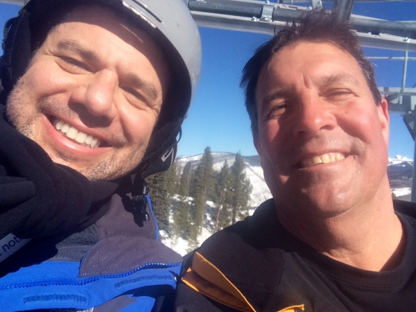 Caught On Camera. ATAGers David Danzig and Lee Pearson share a ski lift in Vail, Coloradao