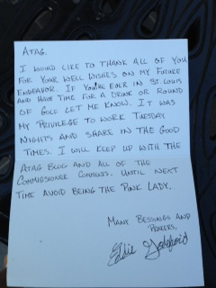 5-13-14  Assistant Pro Eddie's Thank You Note to ATAG