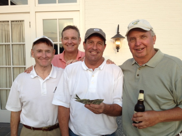 5-20-14 Winning Team: Don Nichols, Tom Houle, and Danny Morris. Winning Team also includes Low Gross and Low Net Winner Pearson and Pink Lady Winner Morris.