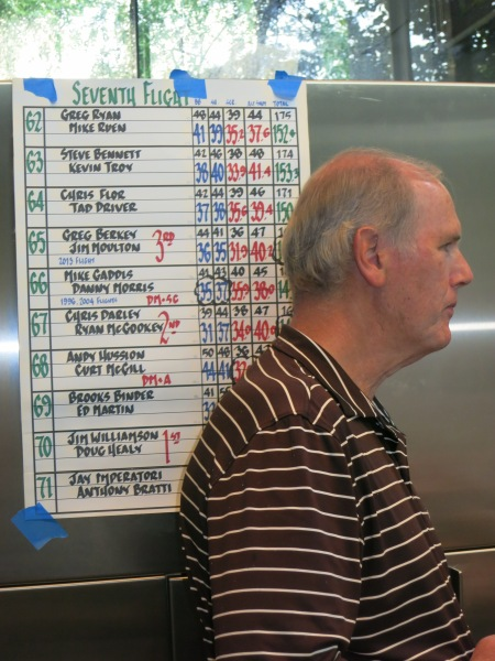 6-24-14 Steak Night: Doug Healy reminds ATAGers of his and Jim Williamson's Seventh Flight first place finish in the Club's Member-Member