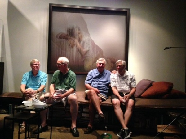 6-23-15 Steak Night: Bill Buist, Frank Corrigan, Danny Morris, Craig Sellner (photographer Brooks Cowles noted it was obvious why the lady in the painting was weeping)