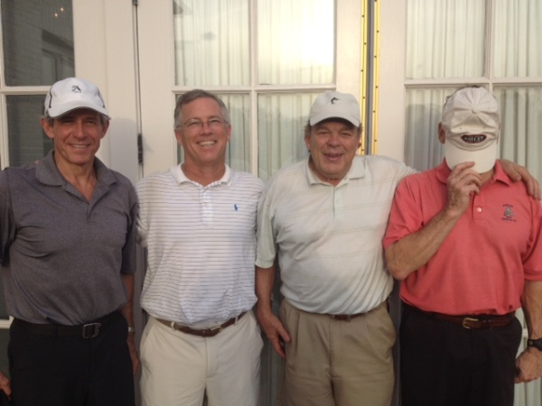 7-7-15 Winning Team: Brooks Cowles, Doug Gooding, Henry Sawyer, and Tom Houle stand in