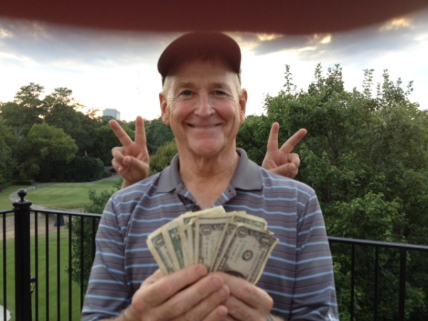 8-11-15 Low Net Winner Don Nichols (background antics provided by Danny Morris)