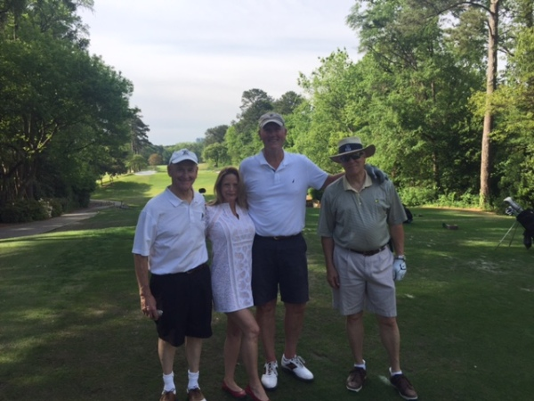 4-19-16: Former ATAG Cart Girl Debra Blakely on # 12 Tee with Don Nichols, Doug Healy, and Craig Sellner